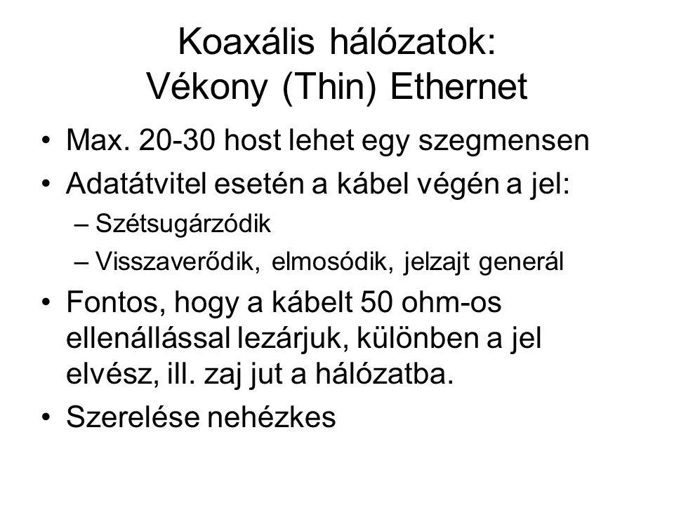 Koaxális hálózatok: Vékony (Thin) Ethernet •Max. 20-30 host lehet egy szegmensen •Adatátvitel esetén a kábel végén a jel: –Szétsugárzódik –Visszaverőd