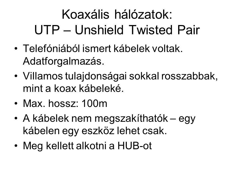 Koaxális hálózatok: UTP – Unshield Twisted Pair •Telefóniából ismert kábelek voltak. Adatforgalmazás. •Villamos tulajdonságai sokkal rosszabbak, mint