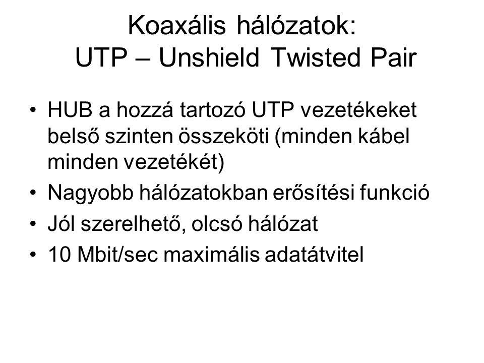 Koaxális hálózatok: UTP – Unshield Twisted Pair •HUB a hozzá tartozó UTP vezetékeket belső szinten összeköti (minden kábel minden vezetékét) •Nagyobb