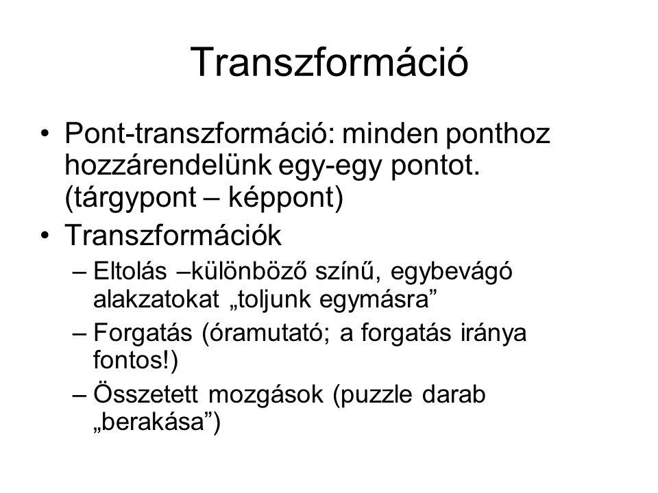 Transzformáció •Pont-transzformáció: minden ponthoz hozzárendelünk egy-egy pontot.