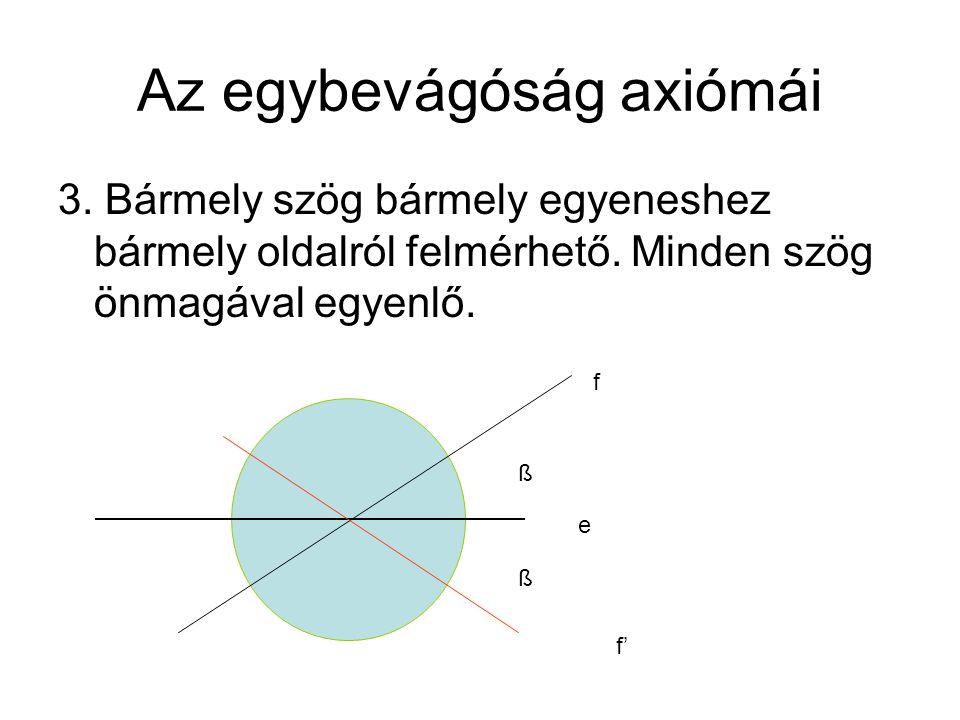 Az egybevágóság axiómái 3.Bármely szög bármely egyeneshez bármely oldalról felmérhető.
