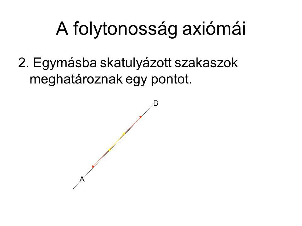 A folytonosság axiómái 2. Egymásba skatulyázott szakaszok meghatároznak egy pontot. A B