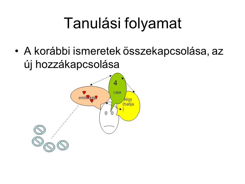 Tanulási folyamat •A korábbi ismeretek összekapcsolása, az új hozzákapcsolása Négy (hallja ) 4 Látj a emlékkép