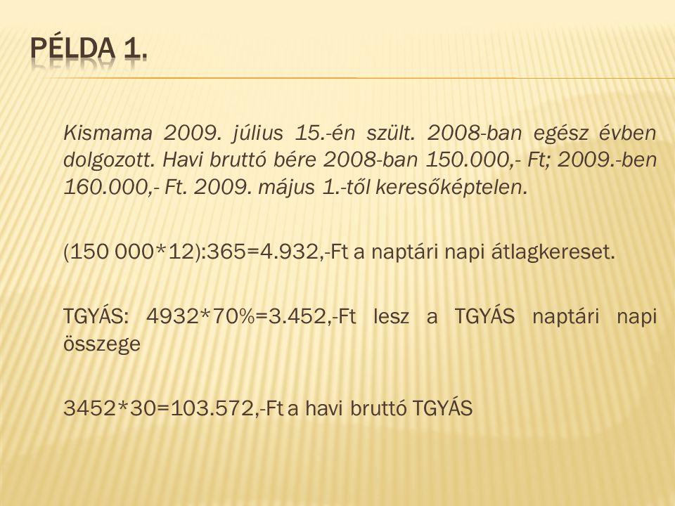 Kismama 2009. július 15.-én szült. 2008-ban egész évben dolgozott. Havi bruttó bére 2008-ban 150.000,- Ft; 2009.-ben 160.000,- Ft. 2009. május 1.-től
