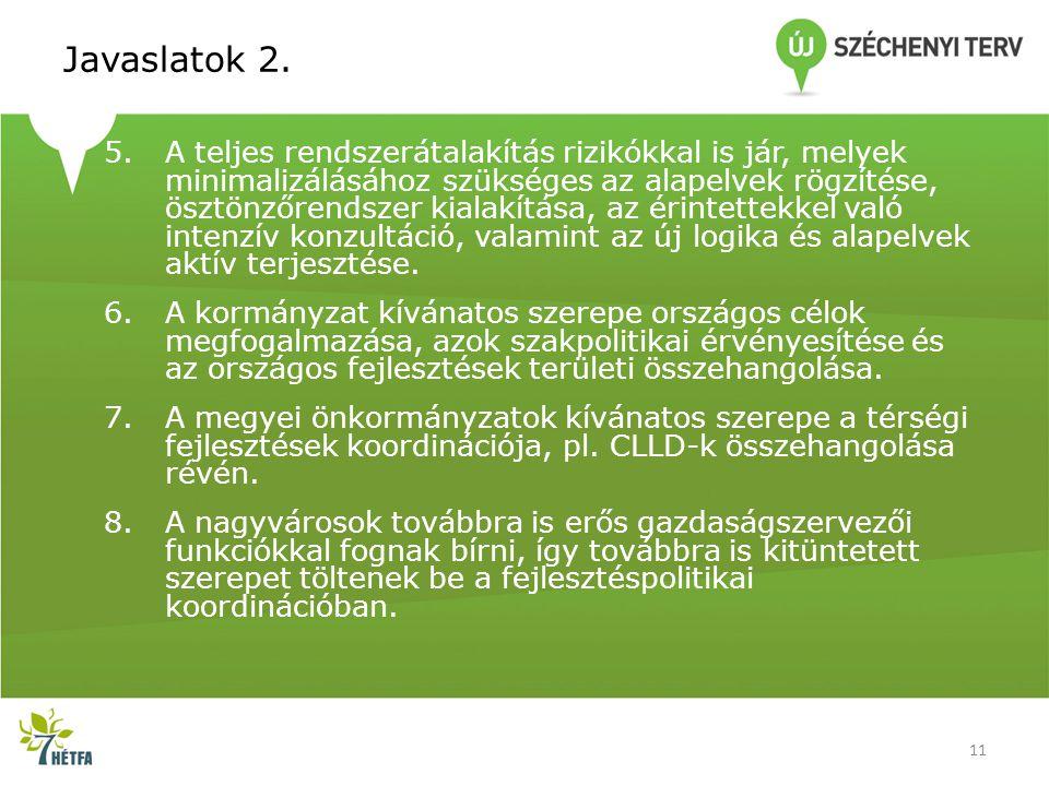Javaslatok 2. 5.A teljes rendszerátalakítás rizikókkal is jár, melyek minimalizálásához szükséges az alapelvek rögzítése, ösztönzőrendszer kialakítása