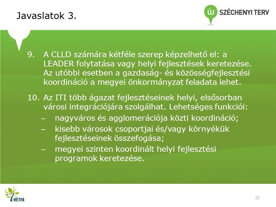 Javaslatok 3. 9.A CLLD számára kétféle szerep képzelhető el: a LEADER folytatása vagy helyi fejlesztések keretezése. Az utóbbi esetben a gazdaság- és