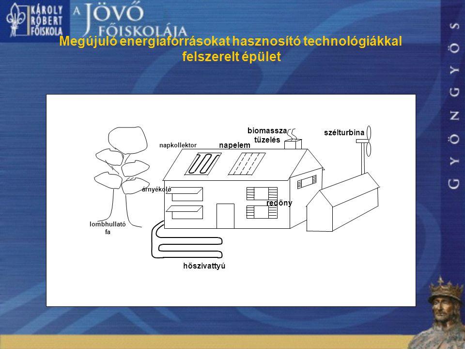 8 Megújuló energiaforrásokat hasznosító technológiákkal felszerelt épület lombhullató fa napkollektor napelem redőny szélturbina hőszivattyú árnyékoló biomassza tüzelés