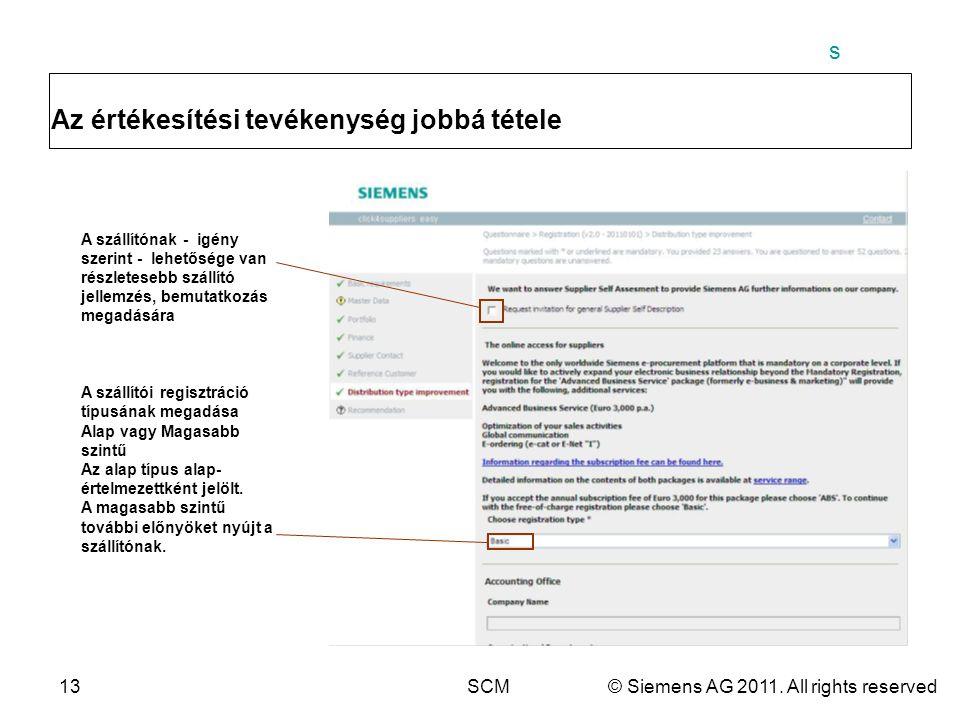 s 13SCM© Siemens AG 2011. All rights reserved Az értékesítési tevékenység jobbá tétele A szállítónak - igény szerint - lehetősége van részletesebb szá