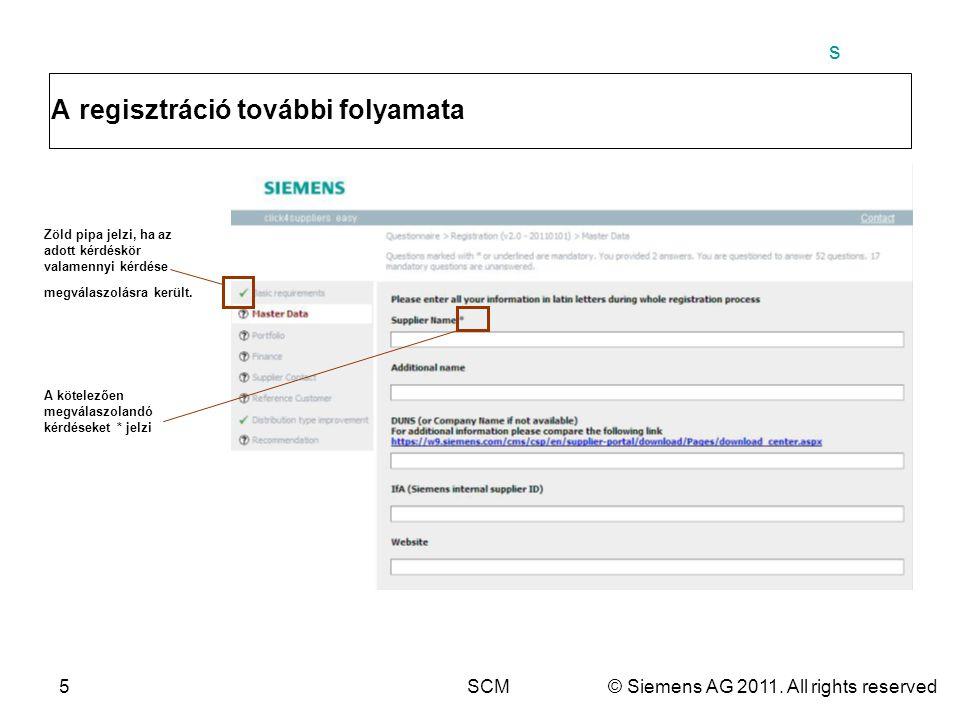 s 5SCM© Siemens AG 2011. All rights reserved A regisztráció további folyamata Zöld pipa jelzi, ha az adott kérdéskör valamennyi kérdése megválaszolásr