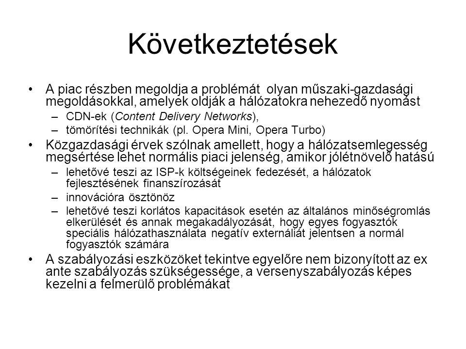 Következtetések •A piac részben megoldja a problémát olyan műszaki-gazdasági megoldásokkal, amelyek oldják a hálózatokra nehezedő nyomást –CDN-ek (Content Delivery Networks), –tömörítési technikák (pl.