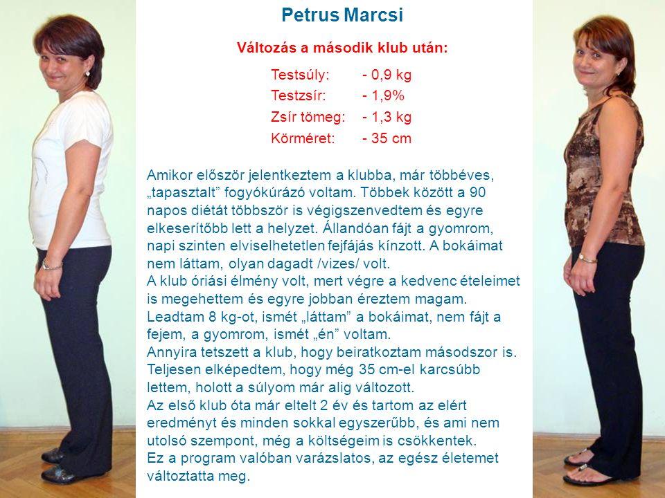"""Petrus Marcsi Testsúly: - 0,9 kg Testzsír:- 1,9% Zsír tömeg:- 1,3 kg Körméret:- 35 cm Amikor először jelentkeztem a klubba, már többéves, """"tapasztalt"""""""
