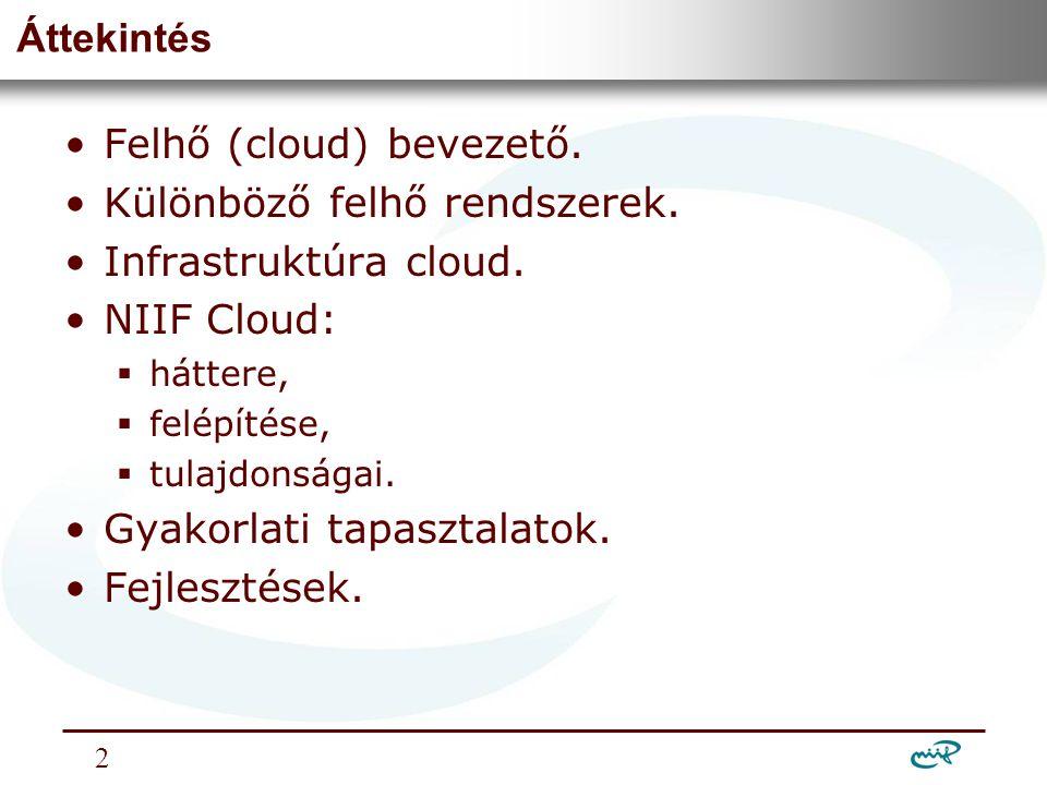 Nemzeti Információs Infrastruktúra Fejlesztési Intézet Felhő (cloud) szolgáltatások •A felhő nem akadémiai találmány, az üzleti életben fejlesztették ki (Amazon, mint úttörő).