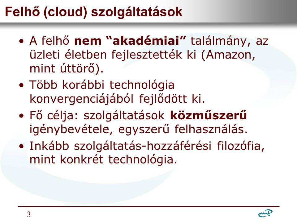 Nemzeti Információs Infrastruktúra Fejlesztési Intézet Felhő szolgáltatások csoportosítása •Hatókör szerint:  privát felhő,  publikus felhő,  közösségi felhő.