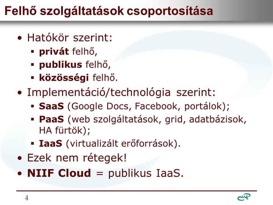 Nemzeti Információs Infrastruktúra Fejlesztési Intézet IaaS felhők jellemzője •IaaS = erőforrás virtualizáció + erőforrás menedzsment.