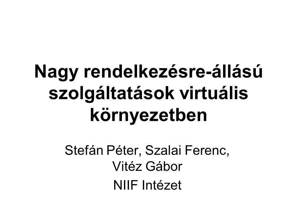 Nagy rendelkezésre-állású szolgáltatások virtuális környezetben Stefán Péter, Szalai Ferenc, Vitéz Gábor NIIF Intézet