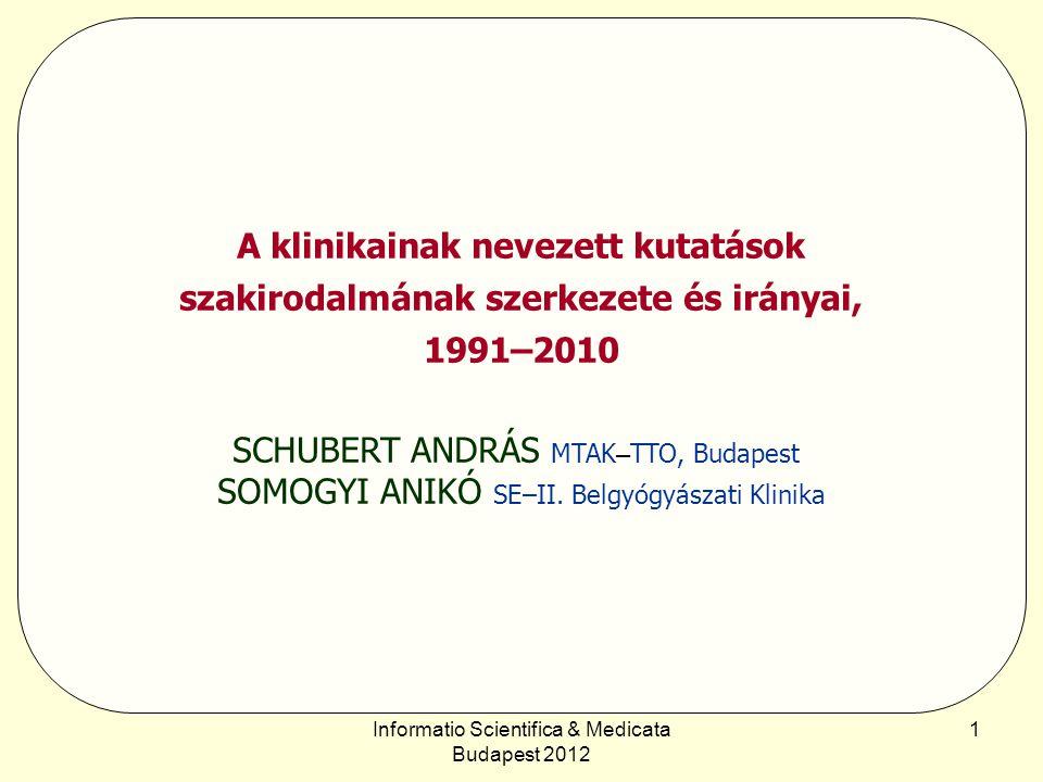 Informatio Scientifica & Medicata Budapest 2012 2 Bevezetés Általános tapasztalat, hogy az elmúlt évtizedek klinikai kutatási szakirodalma (konferenciaelőadások és szakcikkek) a korábbi időszakokhoz képest és az időszakon belül is több lényeges változást tükröz:  a kutatások száma jelentősen növekedett;  a leíró jellegű kutatások helyett az elemző jellegűek kerültek túlsúlyba;  a klinikai kutatásipar egyre nagyobb mértékben a gyógyszer- és gyógyeszközgyártást szolgálja;  a molekuláris biológia és genetika a klinikai kutatások mindennapi eszköztárába került;  a klinikai kutatások és a gyakorlat közötti kapcsolatot számos új rendező elv (pl.
