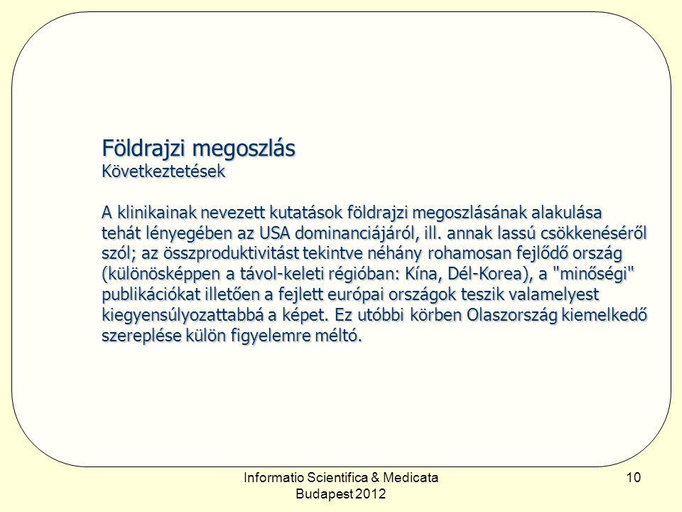 Informatio Scientifica & Medicata Budapest 2012 10 Földrajzi megoszlás Következtetések A klinikainak nevezett kutatások földrajzi megoszlásának alakulása tehát lényegében az USA dominanciájáról, ill.