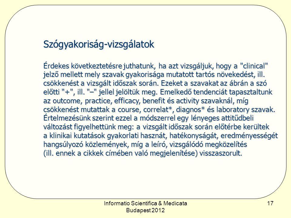 Informatio Scientifica & Medicata Budapest 2012 17 Szógyakoriság-vizsgálatok Érdekes következtetésre juthatunk, ha azt vizsgáljuk, hogy a clinical jelző mellett mely szavak gyakorisága mutatott tartós növekedést, ill.