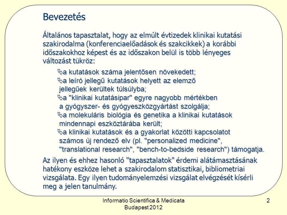 Informatio Scientifica & Medicata Budapest 2012 3 Módszertan A vizsgálathoz a Thomson–Reuters Web of Science (WoS) adatbázisát használtuk.