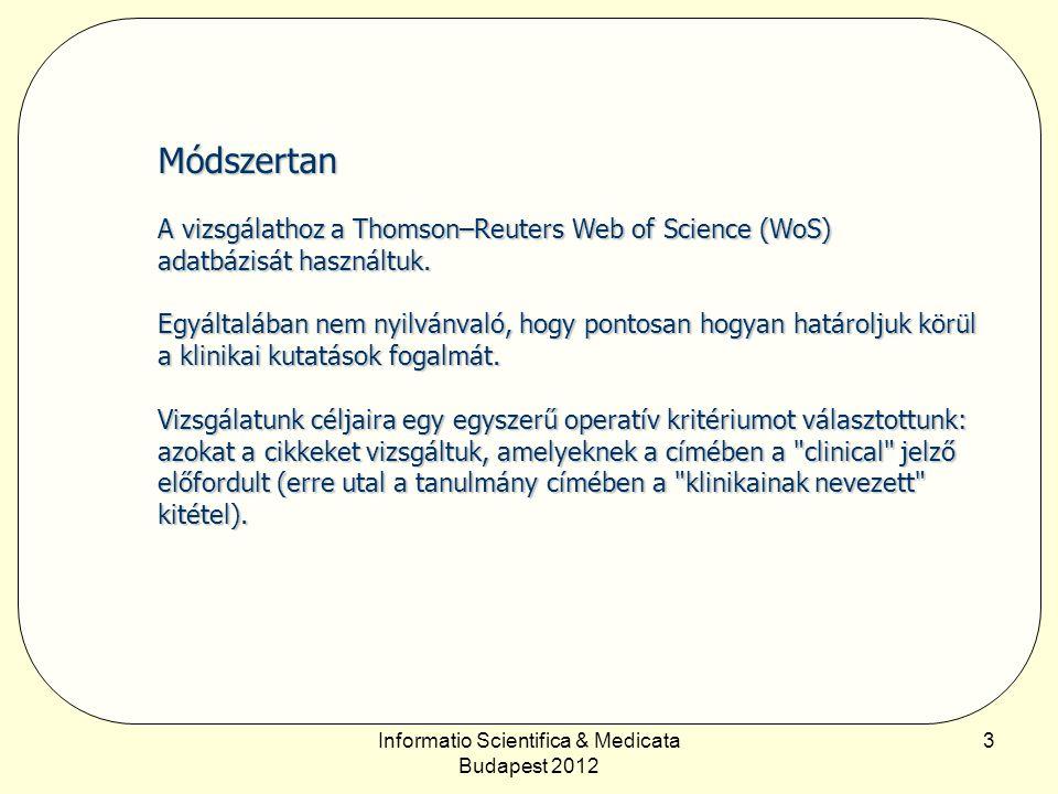 Informatio Scientifica & Medicata Budapest 2012 14 Szakterületi megoszlás Következtetések A húsz év legfeltűnőbb tendenciája a belgyógyászat erőteljes térvesztése és – különösen az időszak utolsó éveiben – a sebészet előretörése.