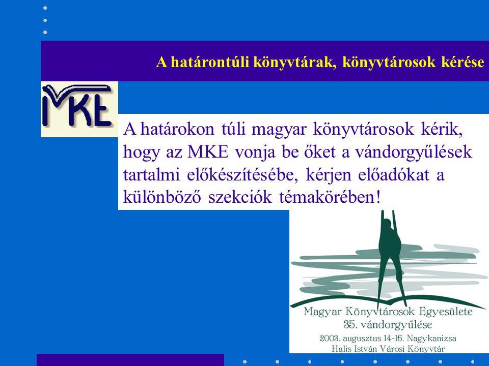 A határontúli könyvtárak, könyvtárosok kérése A határokon túli magyar könyvtárosok kérik, hogy az MKE vonja be őket a vándorgyűlések tartalmi előkészí