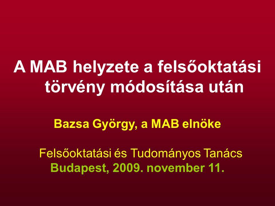 A MAB helyzete a felsőoktatási törvény módosítása után Bazsa György, a MAB elnöke Felsőoktatási és Tudományos Tanács Budapest, 2009.
