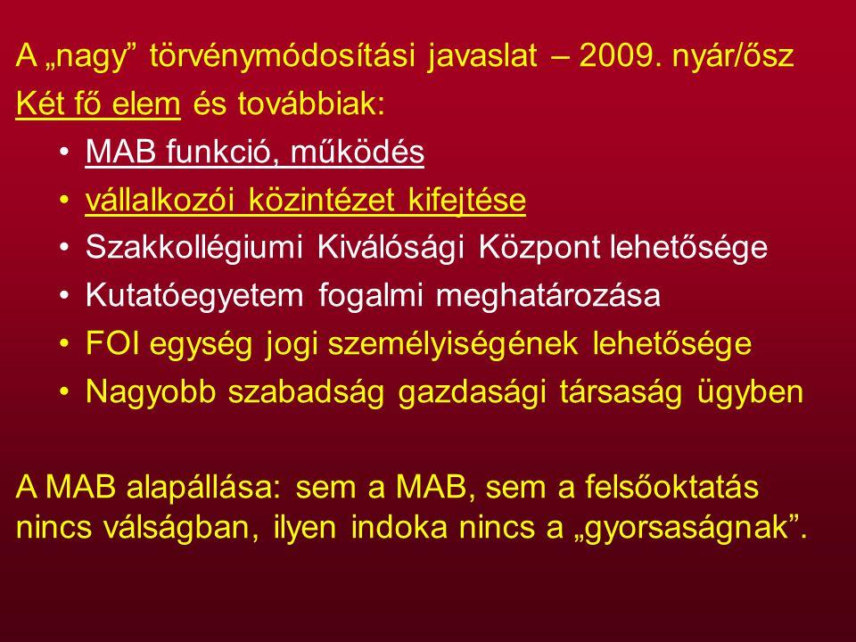 """A """"nagy törvénymódosítási javaslat – 2009."""