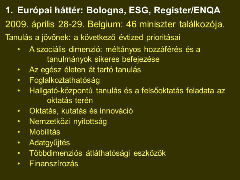1.Európai háttér: Bologna, ESG, Register/ENQA 2009.