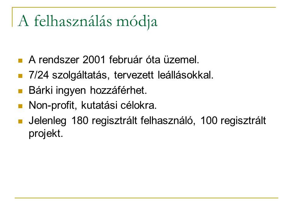 A felhasználás módja  A rendszer 2001 február óta üzemel.  7/24 szolgáltatás, tervezett leállásokkal.  Bárki ingyen hozzáférhet.  Non-profit, kuta