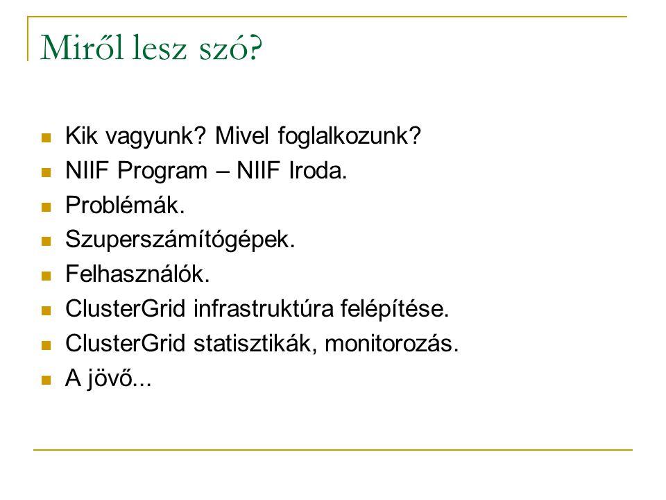 Miről lesz szó?  Kik vagyunk? Mivel foglalkozunk?  NIIF Program – NIIF Iroda.  Problémák.  Szuperszámítógépek.  Felhasználók.  ClusterGrid infra