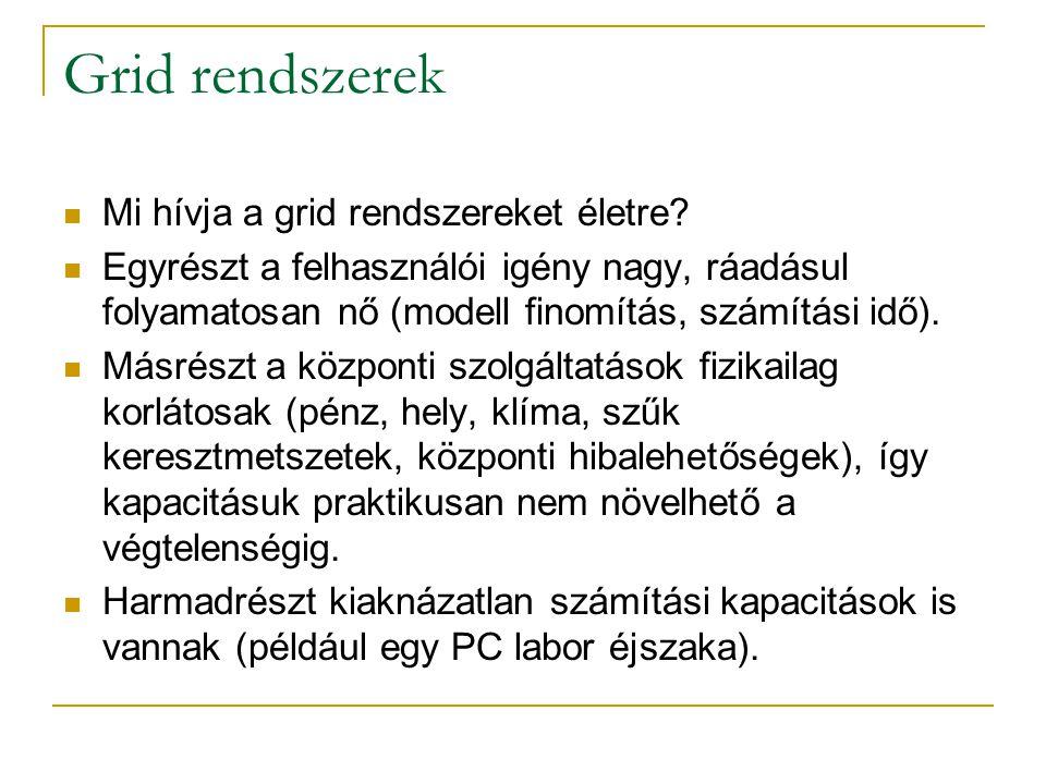 Grid rendszerek  Mi hívja a grid rendszereket életre?  Egyrészt a felhasználói igény nagy, ráadásul folyamatosan nő (modell finomítás, számítási idő