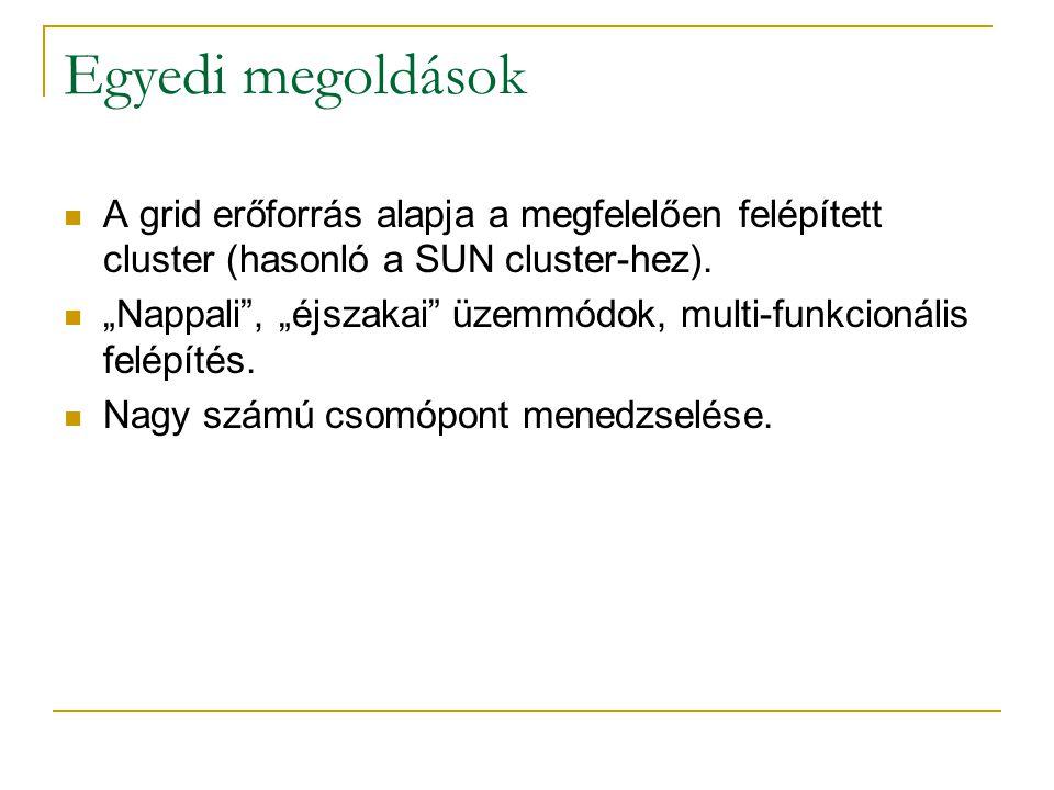 """Egyedi megoldások  A grid erőforrás alapja a megfelelően felépített cluster (hasonló a SUN cluster-hez).  """"Nappali"""", """"éjszakai"""" üzemmódok, multi-fun"""