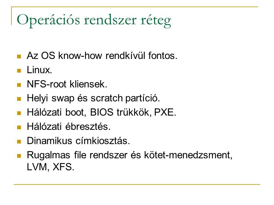 Operációs rendszer réteg  Az OS know-how rendkívül fontos.  Linux.  NFS-root kliensek.  Helyi swap és scratch partíció.  Hálózati boot, BIOS trük