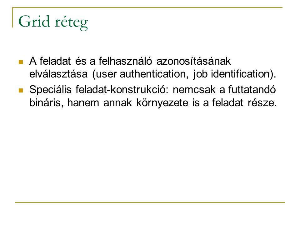  A feladat és a felhasználó azonosításának elválasztása (user authentication, job identification).  Speciális feladat-konstrukció: nemcsak a futtata