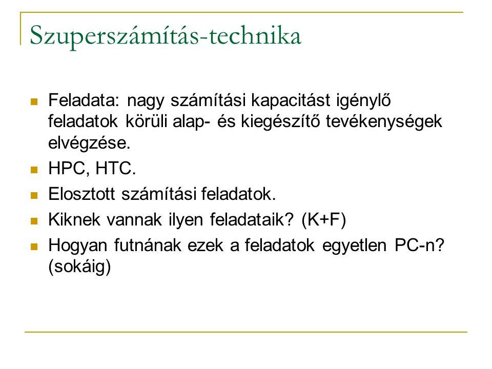 Szuperszámítás-technika  Feladata: nagy számítási kapacitást igénylő feladatok körüli alap- és kiegészítő tevékenységek elvégzése.  HPC, HTC.  Elos