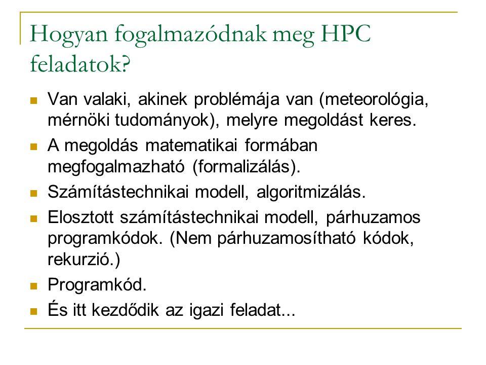 Hogyan fogalmazódnak meg HPC feladatok?  Van valaki, akinek problémája van (meteorológia, mérnöki tudományok), melyre megoldást keres.  A megoldás m