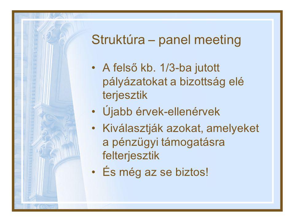 Struktúra – panel meeting •A felső kb.