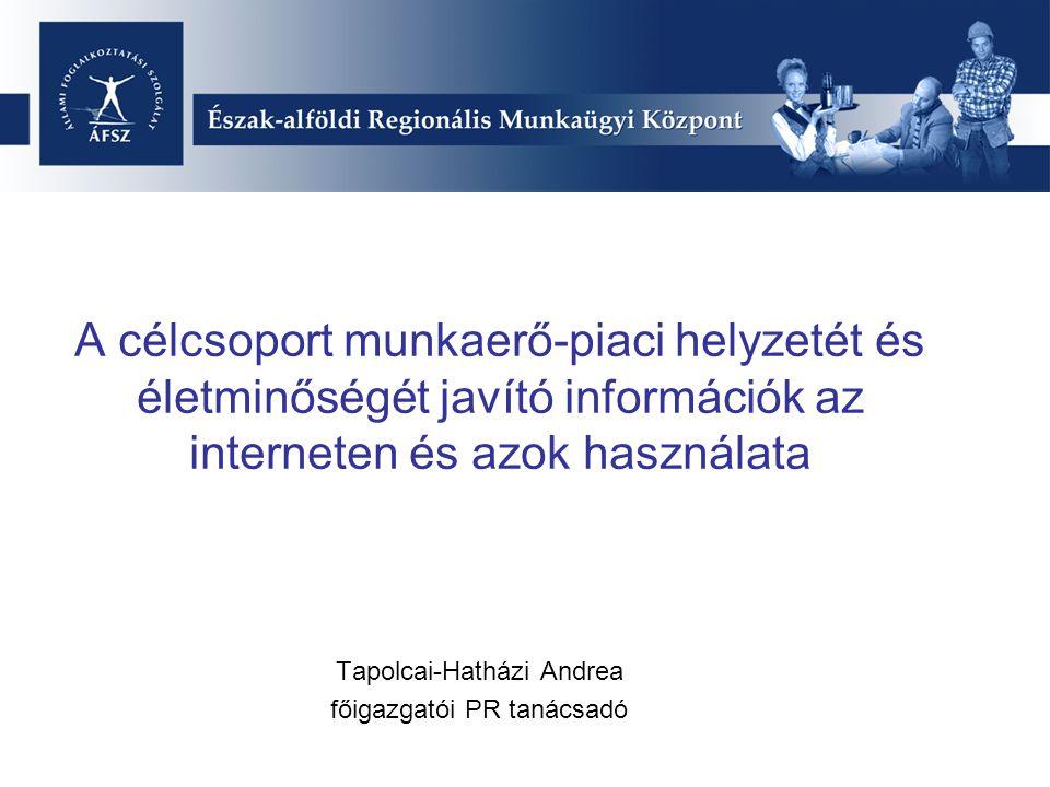 A célcsoport munkaerő-piaci helyzetét és életminőségét javító információk az interneten és azok használata Tapolcai-Hatházi Andrea főigazgatói PR tanácsadó