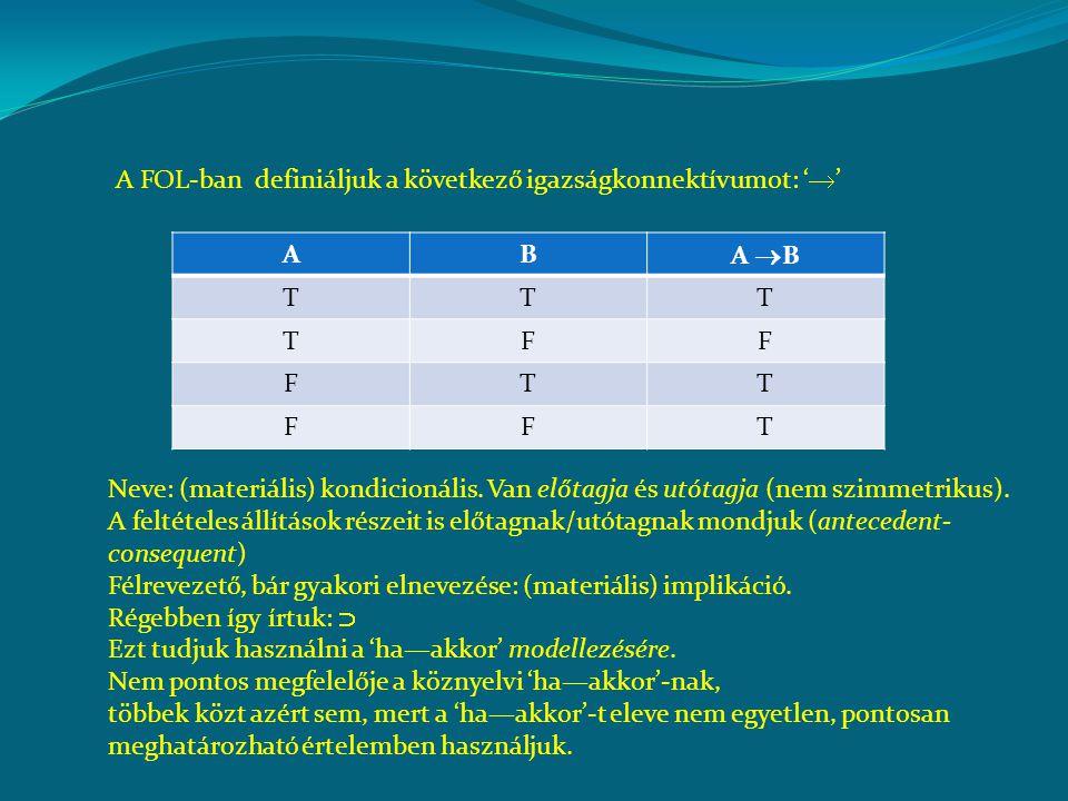 A FOL-ban definiáljuk a következő igazságkonnektívumot: '  ' AB A  B TTT TFF FTT FFT Neve: (materiális) kondicionális. Van előtagja és utótagja (nem