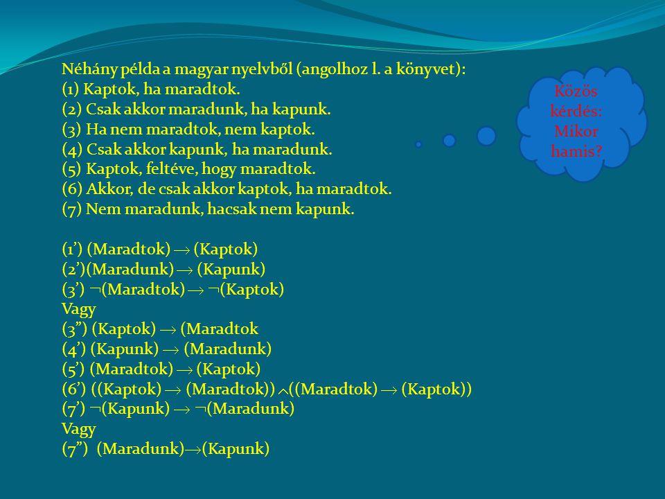 Néhány példa a magyar nyelvből (angolhoz l. a könyvet): (1) Kaptok, ha maradtok. (2) Csak akkor maradunk, ha kapunk. (3) Ha nem maradtok, nem kaptok.