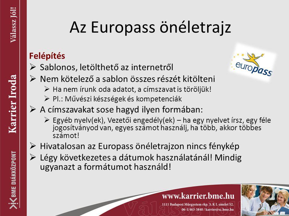 Az Europass önéletrajz Felépítés  Sablonos, letölthető az internetről  Nem kötelező a sablon összes részét kitölteni  Ha nem írunk oda adatot, a cí