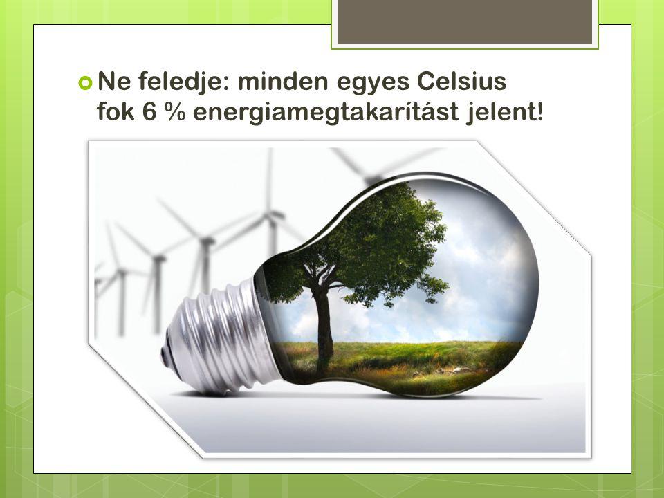  Ne feledje: minden egyes Celsius fok 6 % energiamegtakarítást jelent!