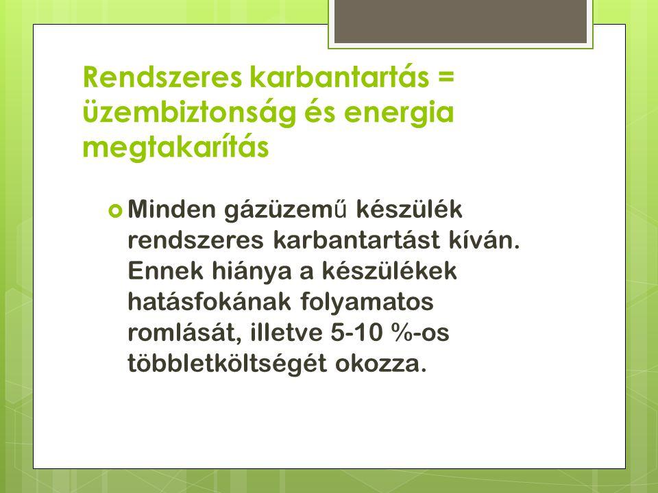 Rendszeres karbantartás = üzembiztonság és energia megtakarítás  Minden gázüzem ű készülék rendszeres karbantartást kíván.