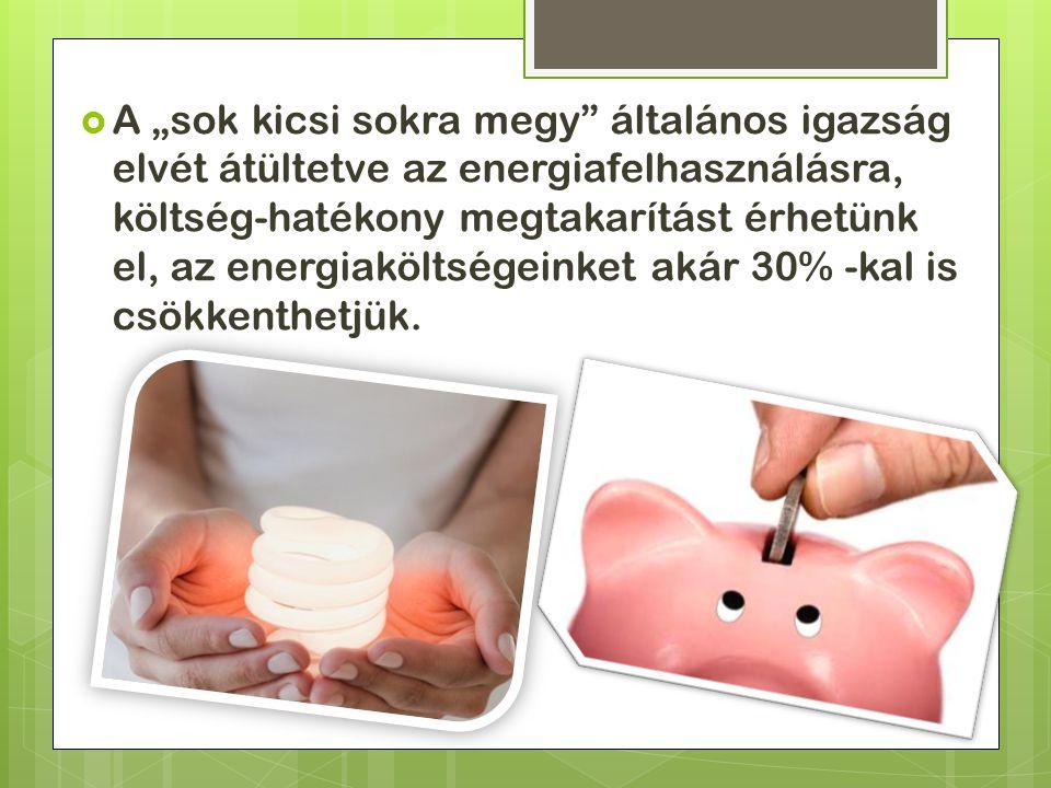 """ A """"sok kicsi sokra megy általános igazság elvét átültetve az energiafelhasználásra, költség-hatékony megtakarítást érhetünk el, az energiaköltségeinket akár 30% -kal is csökkenthetjük."""