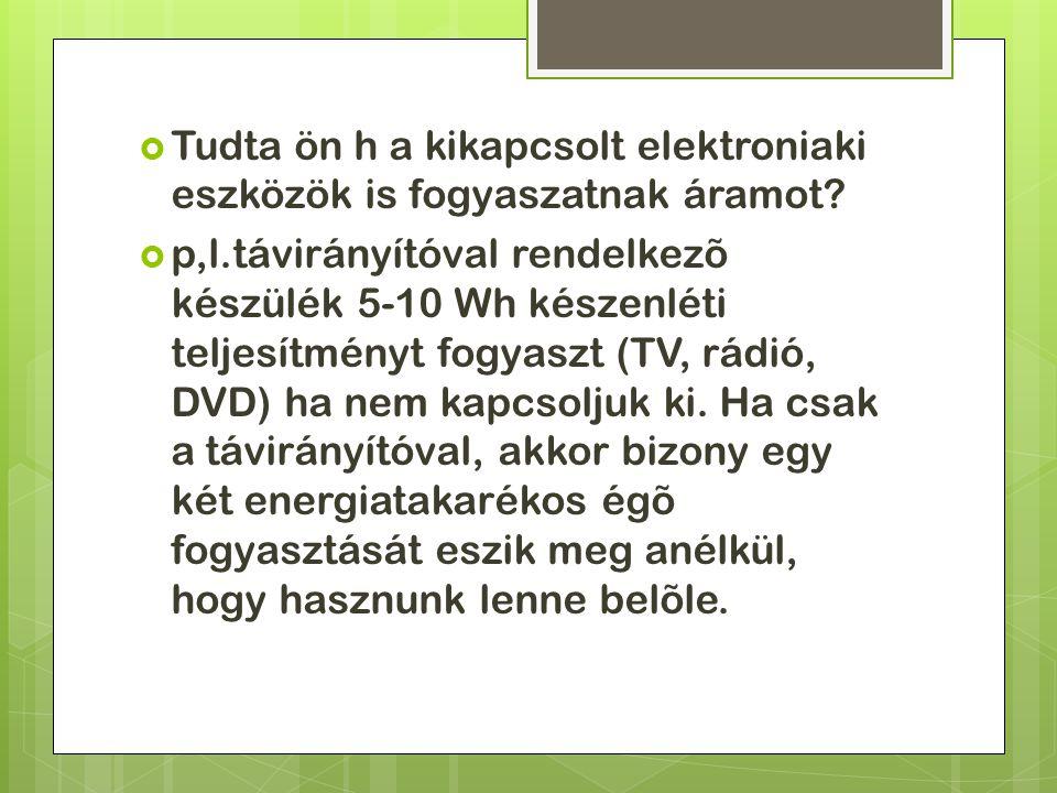  Tudta ön h a kikapcsolt elektroniaki eszközök is fogyaszatnak áramot.