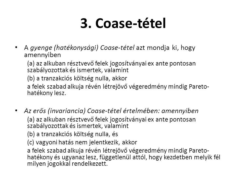 3. Coase-tétel • A gyenge (hatékonysági) Coase-tétel azt mondja ki, hogy amennyiben (a) az alkuban résztvevő felek jogosítványai ex ante pontosan szab