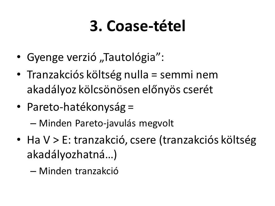 """3. Coase-tétel • Gyenge verzió """"Tautológia"""": • Tranzakciós költség nulla = semmi nem akadályoz kölcsönösen előnyös cserét • Pareto-hatékonyság = – Min"""