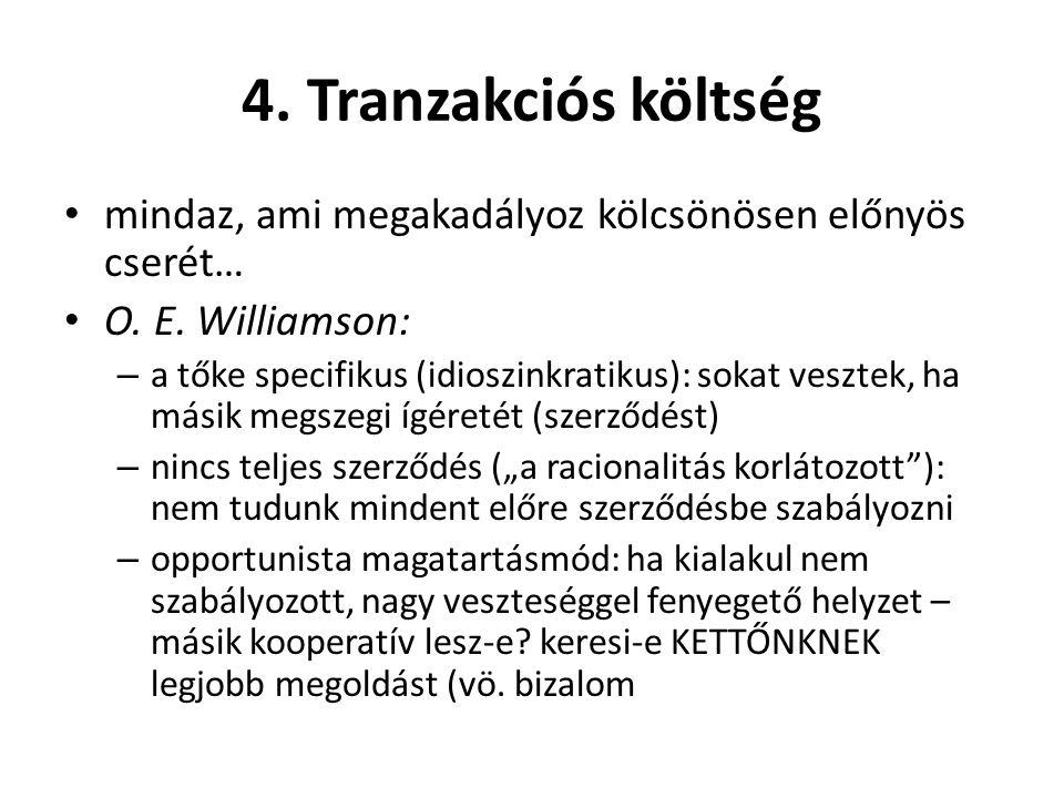4. Tranzakciós költség • mindaz, ami megakadályoz kölcsönösen előnyös cserét… • O. E. Williamson: – a tőke specifikus (idioszinkratikus): sokat veszte