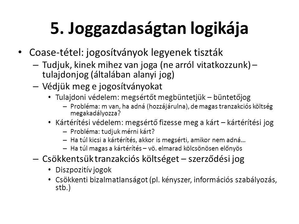 5. Joggazdaságtan logikája • Coase-tétel: jogosítványok legyenek tiszták – Tudjuk, kinek mihez van joga (ne arról vitatkozzunk) – tulajdonjog (általáb
