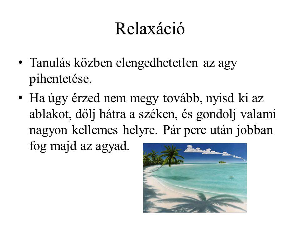 Relaxáció • Tanulás közben elengedhetetlen az agy pihentetése.